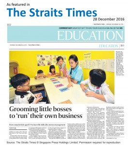 Straits Times_Little Bosses Boot Camp_Business kids singapore_learning Journey Education centre