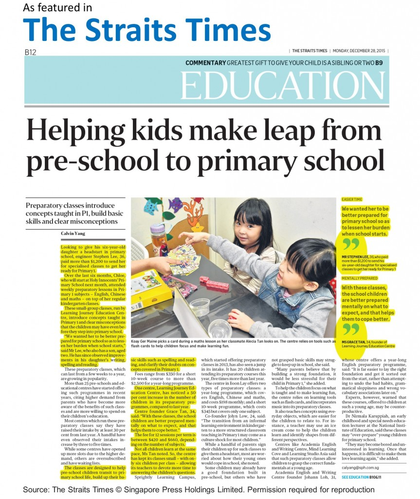 Straits Times_P1 Prep Preparation Class Singapore Learning Journey Education Centre