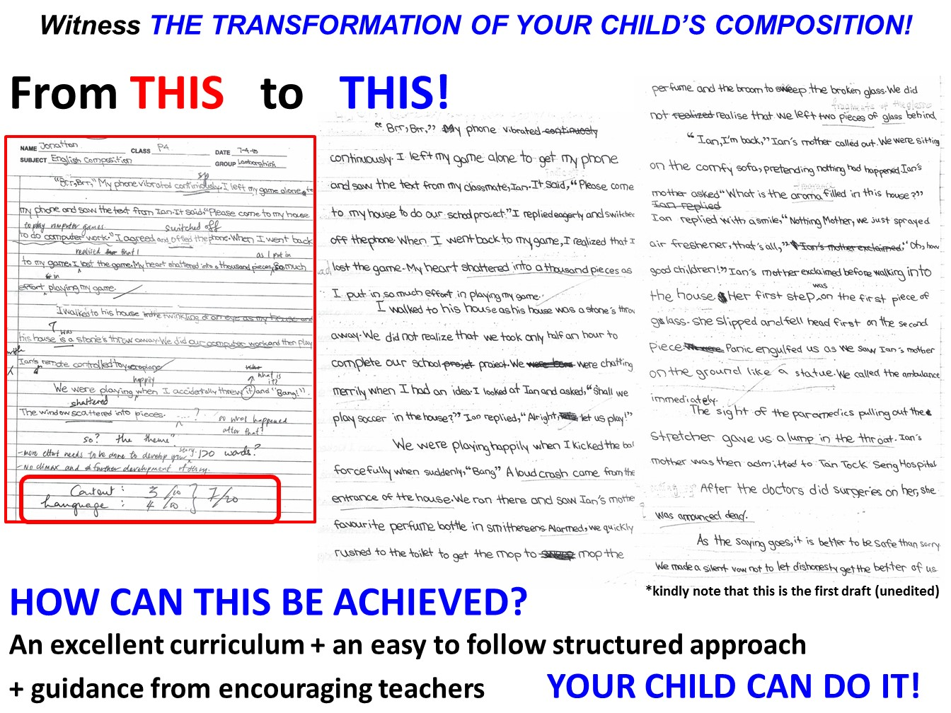 testimonial J P4 composition creative writing tuition singapore